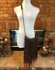 BoHo Hippy Leather Dark Brown Fringe Convertible Lightweight Cross Body Bag