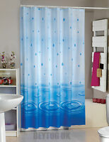 Beautiful Blue Drops Fabric Shower Curtain Extra Long, Wide or Narrow In 4 Sizes