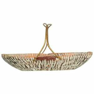 Macabo Cusano ALDO TURA Designer Carved Wood & Brass Basket Milan Italy 1960s