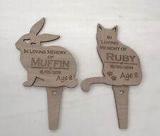 Personalised Engraved Pet Memorial Grave Marker Plaque- In Loving Dog Cat Rabbit