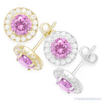 Pink Round Cut Cubic Zirconia Halo Faux Tourmaline Sterling Silver Stud Earrings