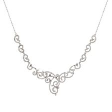 Womens Sterling Silver CZ Floral Filigree Bridal Statement Necklace