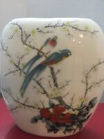 Vintage Oval Porcelain Vase with Birds and Blossoms Fine China Japan