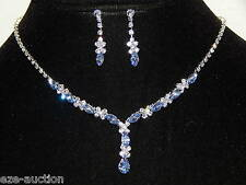 Round, Marquise Silver, Sky Blue Sapphire Rhinestone Drop Necklace & Earring Set