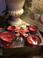 Red & White~Enamelware/Splatterware/Swirl~Set Of 4-Measuring Cups-Quality! LOOK