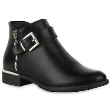 Damen Stiefeletten Ankle Boots Warm Gefütterte Booties Schnalle  824217 Schuhe