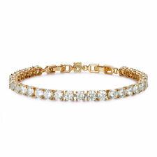 Luxury TT  6mm Width 18K Gold Filled Clear CZ Wedding Bracelet (CBF34)NEW