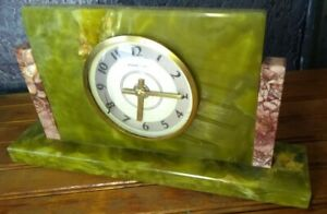Antique Vintage Art Deco green brown Marble Clock untested mechanical 8day