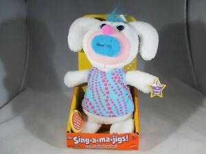 Mattel Fisher Price Sing A Ma Jigs White Pink Blue Plush Stuffed Toy Music Works