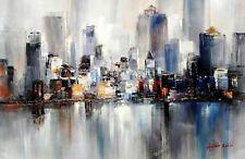 Abstrait - Premières Lumières Sur New York 60x90 cm Peinture à l'huile - B44546