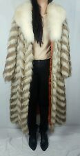 Authentic Sable Fox Fur Full Length Coat Duster Fluffy Beige White Collar L