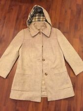Womens Size Small Sears Oatmeal Beige Removeable Hood Wool Coat Excellent