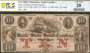 1861 $10 DOLLAR BILL SOUTH CAROLINA BANK NOTE LARGE CURRENCY PAPER MONEY PCGS 20