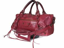 Auth BALENCIAGA The City Leather Red Hand Bag, Shoulder Bag BH0004