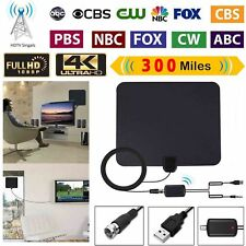300 Mile Ultra Thin Flat Indoor HDTV Amplified HD TV Antenna + Cable For Fosmon!