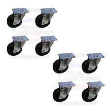 """Set Of 8 High Temperature Oven Casters. 4"""" Wheel x 1-1/2 Wide. Small Plate"""