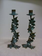 Pair Of Party Lite Verdigris Grape Leaf Candle Holders 11""