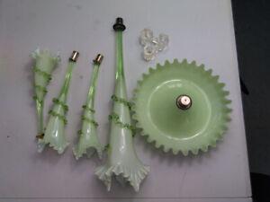 Antique vaseline Uranium epergne glass flute flower  complete light damage