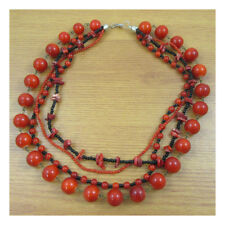 "17"" Necklace Costume Jewellery Evening Boho Festival Red Coral NaturalStone 109"