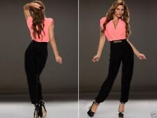 Mono traje elegante conjunto Stylish Ruched V-Neck Buckle Jumpsuit Bodysuit M