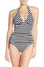 Tommy Bahama SwimSuit One Piece BLACK & WHITE Stripe Mitered Halter Cup AU20 NEW