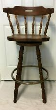 Vintage Carved Wood  Windsor Swivel Bar High Chair, Stool w/ Metal Foot Rest