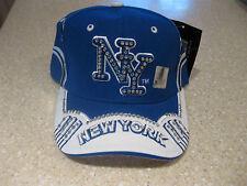 NEW YORK CITY NYC RHINESTONE CRYSTAL BLING BASEBALL HAT CAP ROYAL BLUE WHITE NY