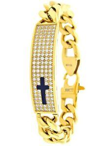 14K Yellow Gold Tone On Stainless Steel Cross Bracelet Simulate Diamond Hip Hop