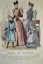 GRAVURE COULEURS MODE FEMININE ROBES FILLETTE CAGE OISEAU SALON FEVRIER 1891