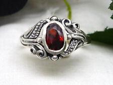 Jugendstil Damenring 925 Silber Ring Zirkonia rot Damen versch. Größen