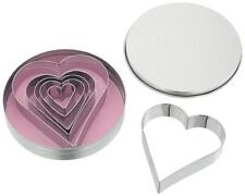 JUDGE Set 6 Heart Metal Biscuit/Cookie Cutters in Tin. Home Baking/Cakes/Icing.