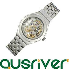 Swatch YAS100G Mens Watch Swiss Stainless Irony Steel Skeleton Dial Automatic