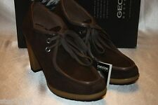 NEW NIB GEOX Coffee Brown Suede DONNA KARMA Lace Up Ankle Boots Bootie 9.5 $170