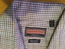 Mens-Size 17 1/2R-Vineyard Vines shirt-L/S blue plaid/checkered dress-Shep & Ian