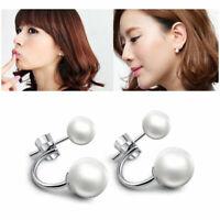 Fashion Frauen Silber Plated Freshwater Perle Ohr Bolze Ohrring Gesc Dangle B5R5