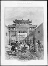 1899 Antique Print - CHINA Germans Street Scene Kiao-Chau Pagoda Bike   (351)