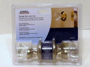 First Watch Passage Door Latch Set Glass Knobs Satin Nickel  Finish1148-SN New