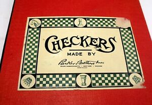 Vintage Set of Wooden Checkers and Early Parker Brothers Green & White Board