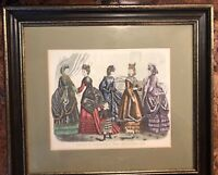 Antique Godey's Fashion Ad Framed December 1870
