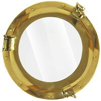 "11"" Brass Porthole Window Glass Antique Nautical Boat Port Photo Frame Wall Deco"