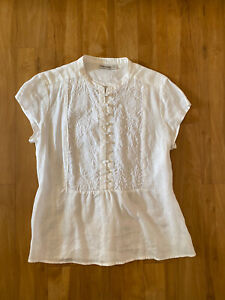 Sussan womens size 14 white shirt top blouse 100% linen short sleeve embroidered