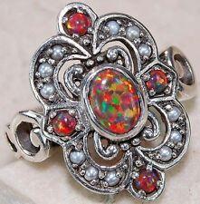 Bague Art Déco Filigrane en argent massif, Opale de Feu et Perle de Culture