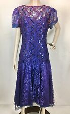 Vintage Shuet Young Purple Sequined Lace Gatsby Goth Midi Dress Size 10 NOS