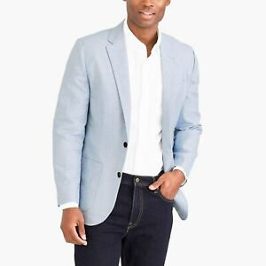 J. Crew Men's Slim Fit Thompson Cotton Linen Blazer Size 36 NWT Ashley Blue 36R