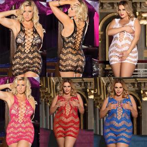 Womens Sexy Bodystocking Plus Size Lingerie Fishnet Bodysuit Body Stocking Sissy