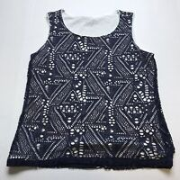 By Chicos Size 1 Layered Blue White Tank Top Knit A617
