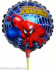 (SET OF 10) SPIDER-MAN ROUND FOIL BALLOONS WITH STICKS **PARTY SUPPLIES**