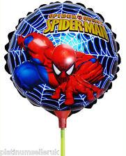 (Set di 10) SPIDER-MAN PALLONCINI Lamina rotonda con i bastoncini ** forniture Festa **