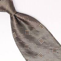 Donna Karan Mens Silk Necktie Platinum Gray Champagne Scattered Check Weave Tie