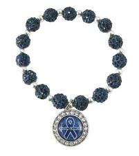 Colon Cancer Awareness Survivor Blue Ribbon Crystal Jeweled Bead Bracelet Gift